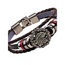 cheap Men's Bracelets-Men's Leather Bracelet - Stainless Steel Eagle, Anchor Vintage, Fashion Bracelet Black / Brown For Street Club