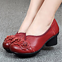 abordables Zapatillas sin Cordones y Mocasines de Mujer-Mujer Zapatos Cuero Primavera / Otoño Confort Zapatos de taco bajo y Slip-On Tacón Bajo Dedo redondo Negro / Rojo / Azul
