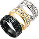 cheap Men's Rings-Men's Band Ring - Titanium Steel Fashion 6 / 7 / 8 / 9 / 10 Gold / Black / Silver For Daily