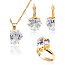 cheap Jewelry Sets-Women's Cubic Zirconia Jewelry Set - Zircon, Gold Plated Simple Style, Fashion Include Gold For Wedding / Daily