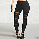 cheap Wall Stickers-Women's Shredded Legging - Mesh, Solid Colored Mid Waist