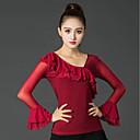 זול הלבשה לריקודים לטיניים-ריקוד לטיני חולצות בגדי ריקוד נשים הצגה משי קרח קפלים שרוול ארוך עליון