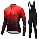 cheap Cycling Jersey & Shorts / Pants Sets-FUALRNY® Men's Long Sleeve Cycling Jersey with Bib Tights - Black / Red Bike Clothing Suit Fleece Gradient / High Elasticity
