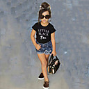 preiswerte Kleidersets für Mädchen-Mädchen Kleidungs Set Solide Baumwolle Sommer Kurzarm Freizeit Schwarz