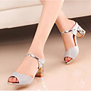 cheap Women's Sandals-Women's Shoes Nubuck leather / Glitter Spring / Fall Basic Pump Sandals Block Heel Gold / Silver