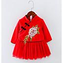 olcso Esküvői ajándékok-Virágos Ősz Lány Ruha Virágos Rubin Arcpír rózsaszín Tengerészkék