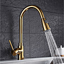 cheap Kitchen Faucets-Contemporary Pull-out/­Pull-down Vessel Widespread Rotatable Pull out Ceramic Valve Ti-PVD , Kitchen faucet