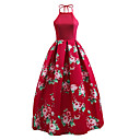 cheap Wedding Invitations-Women's Going out Vintage / Street chic Swing Dress - Floral Red, Backless Crew Neck / Floral Patterns