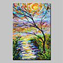 cheap Prints-Oil Painting Hand Painted - Landscape Abstract / Modern Stretched Canvas