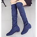 cheap Women's Boots-Women's Shoes Nappa Leather Winter Fashion Boots / Slouch Boots Boots Chunky Heel Knee High Boots Dark Blue / Brown / Red