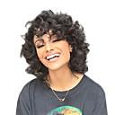 olcso Sapka nélküli-Szintetikus parókák Göndör Szintetikus haj Afro-amerikai paróka Fekete Paróka Női Közepes Sapka nélküli Fekete StrongBeauty