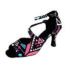 זול נעליים לטיניות-בגדי ריקוד נשים נעליים לטיניות עור / משי סנדלים אבזם / דוגמא \ הדפס עקב קובני מותאם אישית נעלי ריקוד שחור / הצגה
