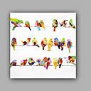 olcso Bekeretezett műalkotások-Hang festett olajfestmény Kézzel festett - Állatok Előírásos Művészeti stílus Művészi Vászon
