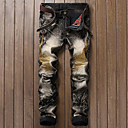 billige Bukser til gutter-Herre Punk & Gotisk Bomull Tynn Jeans / Chinos Bukser - dratt, Fargeblokk / Helg