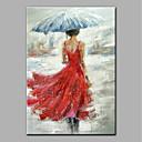 tanie Obrazy: motyw ludzi-Hang-Malowane obraz olejny Ręcznie malowane - Ludzie Antyczny Zwinięte płótna / Zwijane płótno