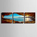 preiswerte Kunstdrucke-Aufgespannte Leinwandrucke Leinwand-Set Abstrakt Landschaft Drei Paneele Druck Wand Dekoration Haus Dekoration