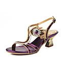 baratos Sandálias Femininas-Mulheres Sapatos Courino Primavera / Verão Botas da Moda Sandálias Dedo Aberto Pedrarias / Cristais / Gliter com Brilho Dourado / Roxo /