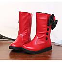preiswerte Mädchenschuhe-Mädchen Schuhe PU Herbst / Winter Komfort / Schneestiefel Stiefel Walking Schleife für Weiß / Schwarz / Rot / Mittelhohe Stiefel