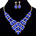 cheap Jewelry Sets-Women's Geometrical Jewelry Set - Crystal Statement, Ladies, Sweet, Elegant Include Rainbow / Red / Blue For Wedding Party Halloween Birthday Engagement Gift / Earrings / Necklace
