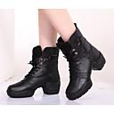 cheap Dance Boots-Women's Dance Boots Cowhide Boots / Heel Chunky Heel Customizable Dance Shoes Black / Practice