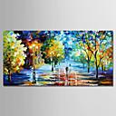 tanie Pejzaże-Hang-Malowane obraz olejny Ręcznie malowane - Krajobraz Nowoczesny Naciągnięte płótka / Rozciągnięte płótno