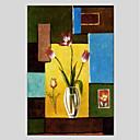 tanie Obrazy: motyw roślinny/botaniczny-Hang-Malowane obraz olejny Ręcznie malowane - Kwiatowy / Roślinny Nowoczesny Brezentowy / Rozciągnięte płótno