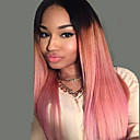 abordables Pelucas Sintéticas de Malla-Pelucas sintéticas Recto Rosa Pelo sintético Raya en medio Rosa Peluca Mujer Larga Sin Tapa Rosa