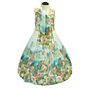 cheap Girls' Dresses-Girl's Going out Holiday Floral Flower/Floral Dress, Cotton Polyester Sleeveless Cute Casual Princess Boho Green