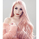 cheap Synthetic Lace Wigs-Synthetic Lace Front Wig Wavy Pink Synthetic Hair Pink Wig Women's Long Lace Front