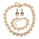 זול סטים של תכשיטים-בגדי ריקוד נשים סט תכשיטים - דמוי פנינה Leaf Shape אופנתי, אלגנטית לִכלוֹל זהב עבור חתונה / Party / עגילים