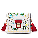 cheap Backpacks-Women's Bags PU(Polyurethane) Crossbody Bag Beading / Embroidery Embroidery Black / Milky White