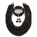 cheap Jewelry Sets-Women's Pearl Jewelry Set - Imitation Pearl Statement, Ladies Include Black For Casual Evening Party / Earrings / Necklace
