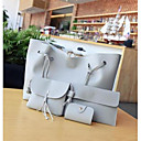 baratos Gargantilhas-Mulheres Bolsas PU Conjuntos de saco Conjunto de bolsa de 4 pcs Ziper Cinzento Claro / Marron / Cinzento Escuro