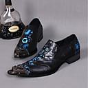 billige Herrestøvler-Herre Novelty Shoes Lær Vår / Sommer Vintage / Komfort / Chinoiserie Oxfords Svart / Bryllup / Fest / aften