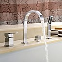cheap Bathtub Faucets-Contemporary Widespread Waterfall Handshower Included Single Handle Four Holes Chrome , Bathtub Faucet