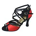 זול נעליים לטיניות-בגדי ריקוד נשים נעליים לטיניות עדרים / סטן / דמוי עור סנדלים / עקבים עקב מותאם מותאם אישית נעלי ריקוד שחור אדום / מקצועי