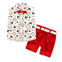 cheap Boys' Clothing Sets-Boys' Jacquard Cartoon Clothing Set, Cotton All Seasons Sleeveless Casual Street chic Red