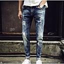 זול עגילים אופנתיים-בגדי ריקוד גברים בסיסי כותנה רזה ג'ינסים מכנסיים אחיד