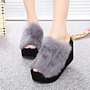 cheap Women's Slippers & Flip-Flops-Women's Shoes Feather/ Fur Spring Fall Comfort Slippers & Flip-Flops Wedge Heel Open Toe for Casual Black Gray Wine