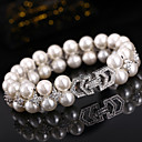 cheap Bracelets-Women's Bracelet - Imitation Pearl, Silver Plated Bracelet Beige For Wedding Party