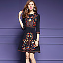 cheap Necklaces-Women's Going out Street chic A Line Dress - Patchwork Black