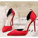 abordables Tacones de Mujer-Mujer Zapatos PU Primavera / Otoño Confort Tacones Paseo Tacón Stiletto Dedo Puntiagudo Cuentas Dorado / Negro / Rojo
