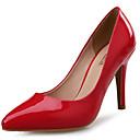 baratos Sapatos de Salto-Mulheres Sapatos Couro Envernizado Primavera / Outono Conforto Saltos Salto Agulha Dedo Apontado Vermelho / Verde / Casamento
