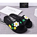 cheap Women's Slippers & Flip-Flops-Women's Shoes PVC Leather Spring / Summer Comfort Slippers & Flip-Flops Flat Heel Open Toe Appliques Yellow / Red / Blue