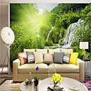baratos Murais de Parede-Árvores/Folhas Padrão 3D Decoração para casa Moderna Rústico Modern Revestimento de paredes, Tela de pintura Material adesivo necessário