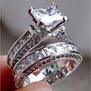 povoljno Prstenje-Žene Zaručnički prsten Belle Ring Dijamant Kubični Zirconia Sintetički dijamant 2pcs Srebro Tikovina Geometric Shape Četiri drška dame Neobično Jedinstven dizajn Vjenčanje Angažman Jewelry Pasijans