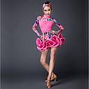 abordables Ropa de Baile para Niños-Baile Latino Accesorios Rendimiento Hilo Elástico Diseño / Estampado Manga Larga Cintura Media Faldas Top