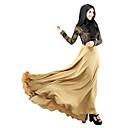 billige Etniske og kulturelle Kostymer-Arabisk kjole Abaya Kaftan Kjole jalabiya Dame Ethnic Style Blonde Lang Lengde Festival / høytid Drakter Beige / Lilla / Grønn Ensfarget
