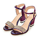 cheap Women's Sandals-Women's Shoes PU(Polyurethane) Spring / Fall Comfort / Novelty Sandals Chunky Heel Open Toe Rhinestone / Buckle Beige / Purple / Red