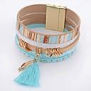رخيصةأون حلقات الأذن-للمرأة كريستال أساور التفاف - كريستال, جلد قطرة بسيط, موضة سوار أزرق من أجل يوميا